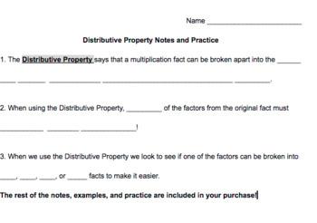 Distributive Property Review - Grade 3 - Presentation and Notes