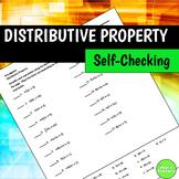Distributive Property Self-Checking Worksheet
