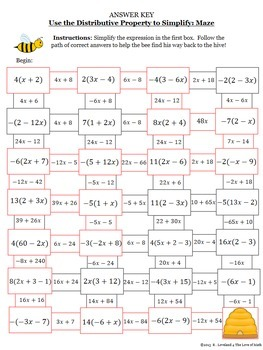 Distributive Property: Simplifying Expressions Maze