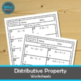 Distributive Property Simplifying Expressions Quiz Workshe