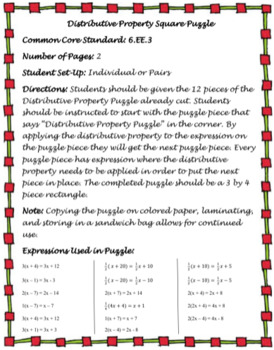 Distributive Property Square Puzzle (6.EE.3)