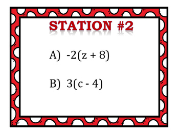Distributive Property With Variables Stations (Positive/Negative Numbers)