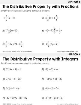 Distributive Property : Middle School Math Stations
