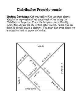 Distributive Property - Tangram Puzzles - CCSS:3.OA.B.5.