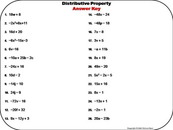 Distributive Property of Multiplication Task Cards 6th 7th 8th Grade