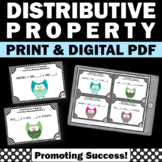 Distributive Property Task Cards, 6th Grade Math Review Games SCOOT