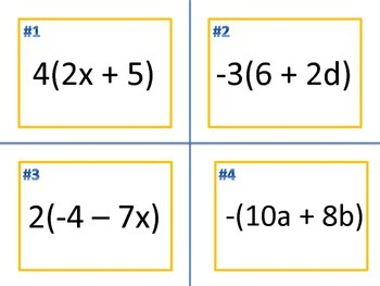 Distributive Property Task Cards (Includes Editable Version)