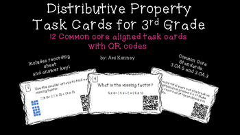 Distributive Property Task Cards with QR Codes
