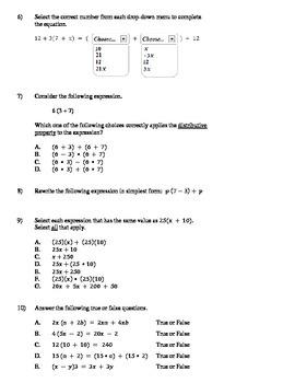 Distributive Property - Test Prep (40 questions)