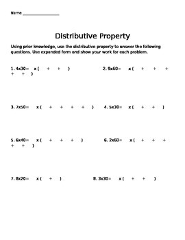 Distributive Property Using Multiples of 10