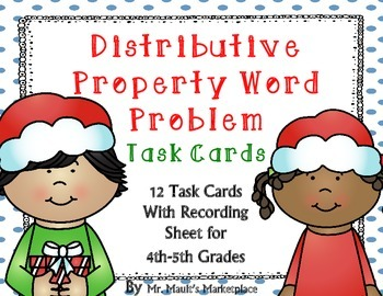 Distributive Property Word Problem Task Cards: Holiday Edition (Grades 4 and 5)