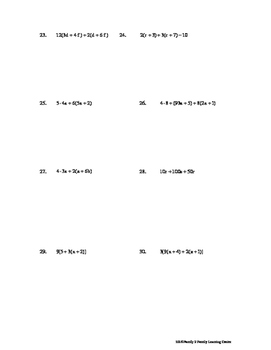Distributive Property Worksheet #2