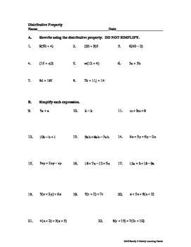 Distributive Property Worksheet #2