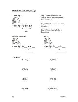 Distributive Property Worksheet - Pre-Algebra, Algebra 1