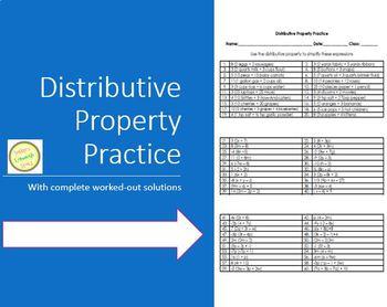 Distributive Property Worksheet or Assessment