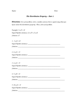 Distributive Property Worksheets
