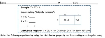 Distributive Property and Arrays Worksheet