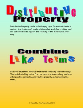 Distributive Property and Combine Like Terms Worksheets, V