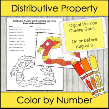 Distributive Property and Combining Like Terms - Color by Number DRAGON