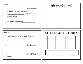 Distributive Property and Combining Like Terms Foldable