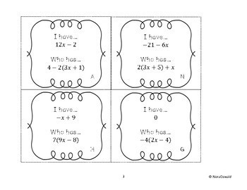 Distributive Property and Combining Like Terms:  I Have Who Has