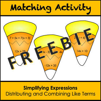 Distributive Property and Combining Like Terms Matching Activity