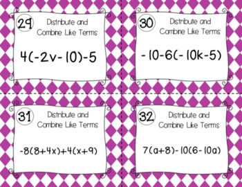 Distributive Property and Combining Like Terms - Task Cards