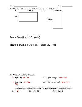 Distributive Property and Combining like terms practice
