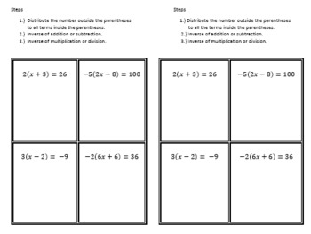 Distributive Property and Equations Notes