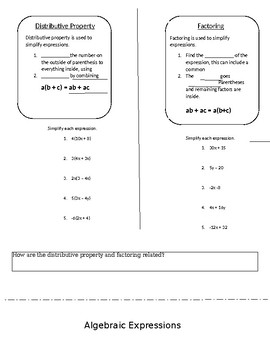 Distributive Property and Factoring Foldable