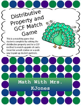 Distributive Property and GCF Match Game