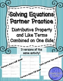 Distributive Property and Like Terms Combined Equations Pa