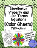Distributive Property and Like Terms Equations Color Sheets