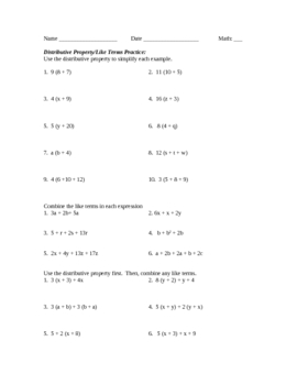 Algebra Terms Worksheet | Teachers Pay Teachers