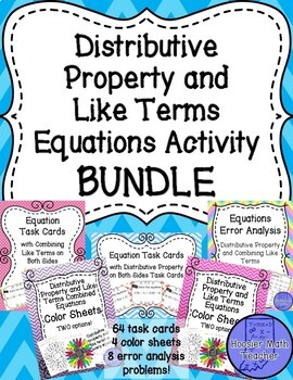 Distributive Property and Like Terms on Both Sides Equations Activity Bundle