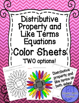 distributive property and like terms on both sides equations color