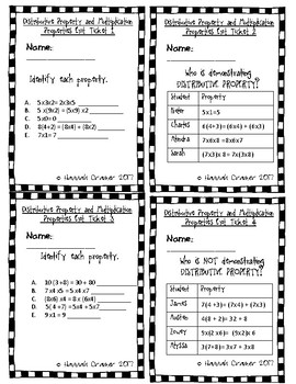 Distributive Property and Multiplication Properties Exit Tickets