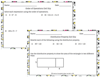 Distributive Property and Order of Operations