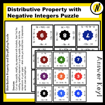 Distributive Property and Simplifying with Integers Matching Puzzle