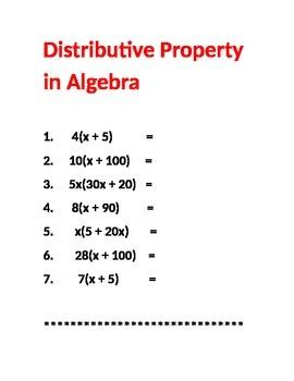 Distributive Property in Algebra
