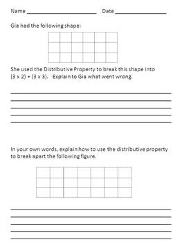 Distributive Property made EASY!  Common Core Aligned 3.OA.5 and 3.MD.7c