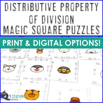 Distributive Property of Division Activities, Games, or Math Test Prep Problems