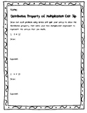 Distributive Property of Multiplication Exit Slip