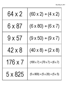 Distributive Property of Multiplication Matching
