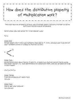 Distributive Property of Multiplication Pack