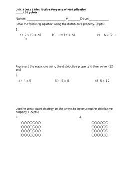 Distributive Property of Multiplication Quiz