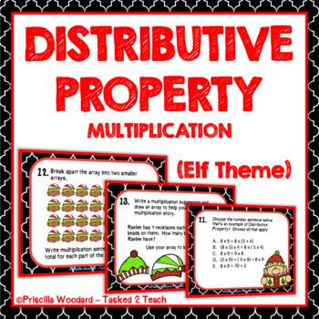 Distributive Property of Multiplication Task Cards (Elf Theme) Christmas Theme