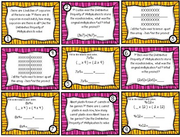 Distributive Property of Multiplication Task Cards (Grade 3 GoMath! 4.4)