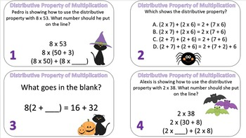 Distributive Property of Multiplication Task Cards {Halloween Themed}