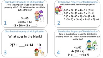 Distributive Property of Multiplication Task Carks {Winter Themed}